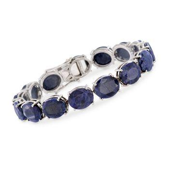 70.00 ct. t.w. Sapphire Tennis Bracelet in Sterling Silver, , default