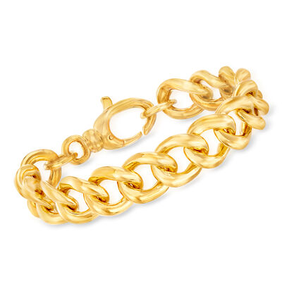 Italian Andiamo Large Curb-Link Bracelet in 14kt Yellow Gold, , default