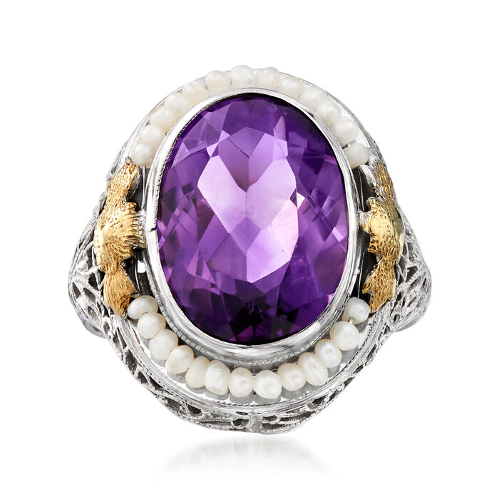 C. 1950 Vintage 5.50 Carat Amethyst and 1mm Cultured Pearl Ring in 14kt Two-Tone Gold. Size 6