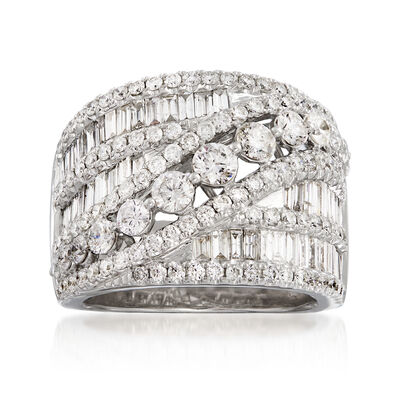 3.00 ct. t.w. Diamond Sash Ring in 14kt White Gold, , default