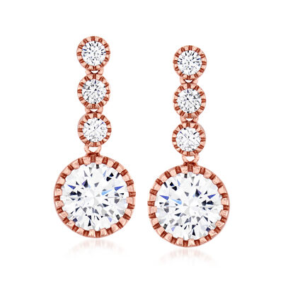 4.40 ct. t.w. CZ Drop Earrings in 18kt Rose Gold Over Sterling, , default
