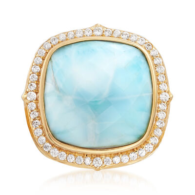 Larimar and .70 ct. t.w. White Zircon Ring in 18kt Gold Over Sterling, , default