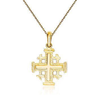 "14kt Yellow Gold Jerusalem Cross Pendant Necklace. 18"", , default"