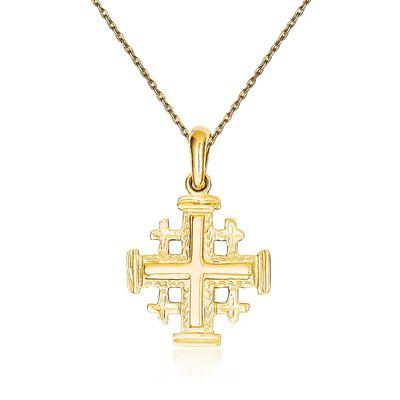 14kt Yellow Gold Jerusalem Cross Pendant Necklace, , default