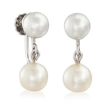 C. 1950 Vintage 6-6.5mm Cultured Pearl Screwback Earrings in 10kt White Gold