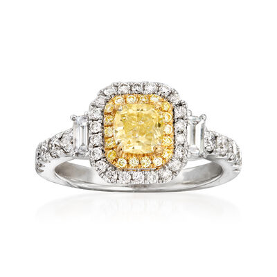 1.69 ct. t.w. Yellow and White Diamond Ring in 18kt White Gold, , default