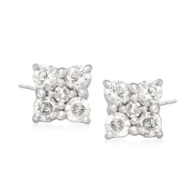 .25 ct. t.w. Diamond Flower Stud Earrings in Sterling Silver