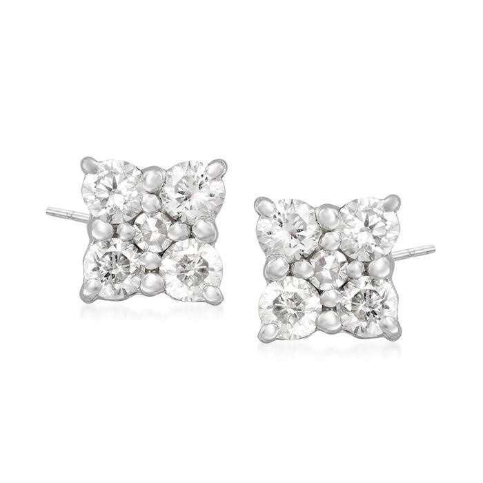.25 ct. t.w. Diamond Flower Stud Earrings in Sterling Silver, , default
