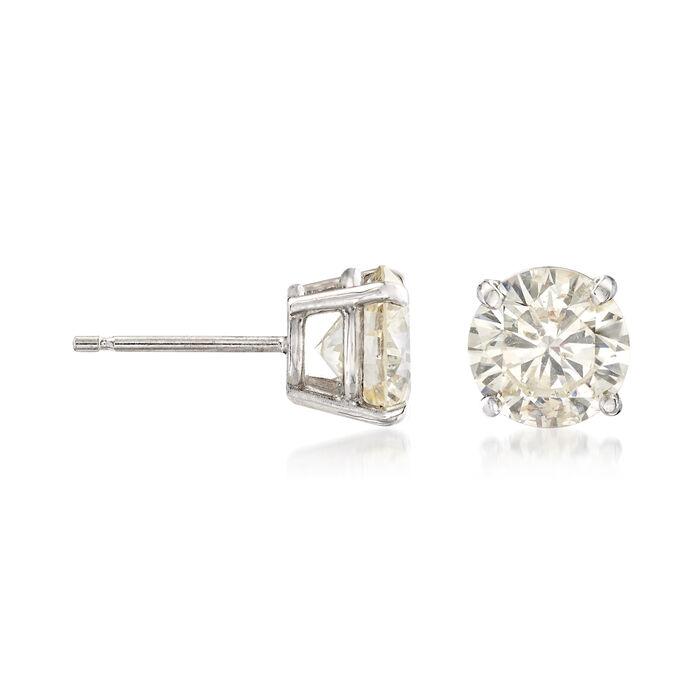C. 1990 Vintage 3.06 ct. t.w. Diamond Stud Earrings in 14kt White Gold. Pst, , default