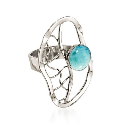 Larimar Openwork Ring in Sterling Silver, , default