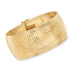 Italian 18kt Yellow Gold Over Sterling Silver Omega Bracelet, , default