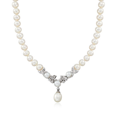C. 1990 Vintage Cultured Pearl and .25 ct. t.w. Diamond Flower Drop Necklace in 14kt White Gold