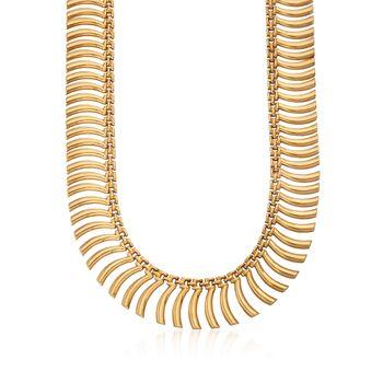 "C.1980 Vintage 18kt Yellow Gold Fancy Link Cleopatra Necklace  . 18"", , default"