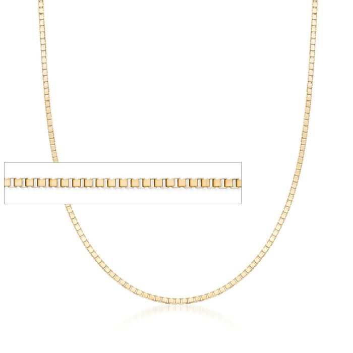 ".8mm 14kt Yellow Gold Box Chain Necklace. 16"", , default"