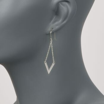 Sterling Silver Chevron Chain Drop Earrings , , default
