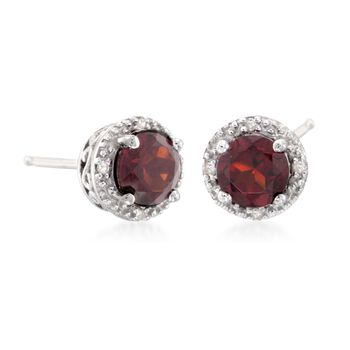 2.00 ct. t.w. Round Garnet Stud Earrings with Diamond Accents in Sterling Silver, , default