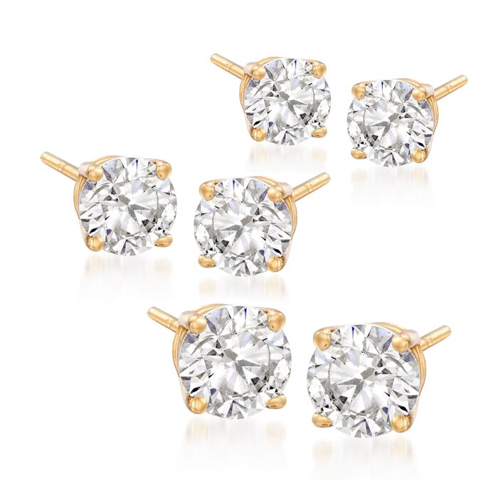 6.00 ct. t.w. CZ Jewelry Set: Three Pairs of Stud Earrings in 14kt Yellow Gold , , default