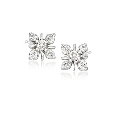 .25 ct. t.w. Diamond Flower Earrings in Sterling Silver