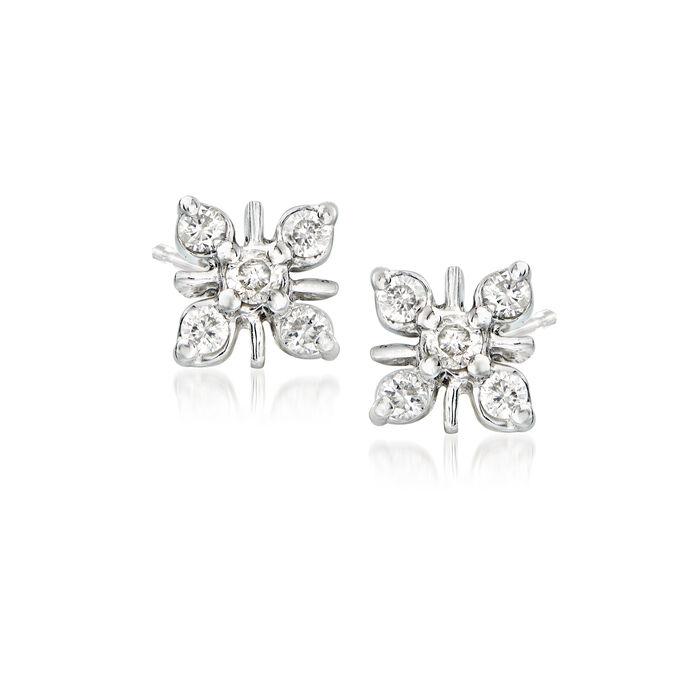 .25 ct. t.w. Diamond Flower Earrings in Sterling Silver
