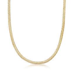 C. 1990 Vintage 6.5mm Herringbone Chain Necklace in 14kt Yellow Gold, , default