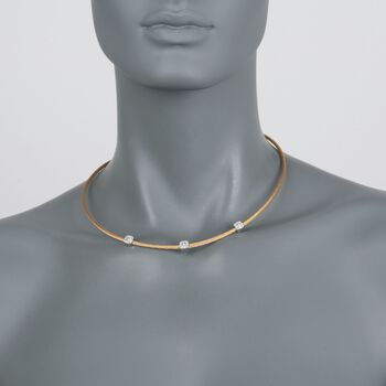 """ALOR """"Classique"""" .14 ct. t.w. Diamond Station Yellow Cable Necklace with 18kt White Gold. 17.5"""""""