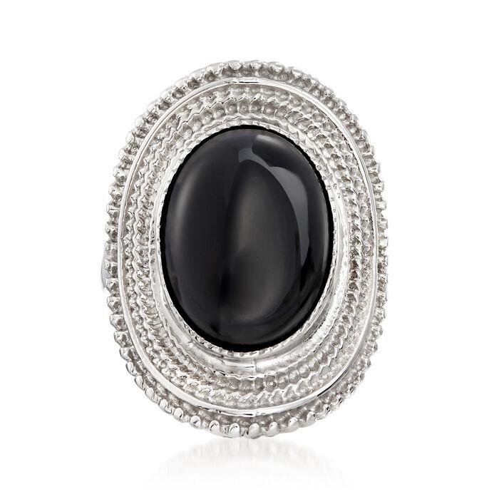 Italian Black Onyx Ring in Sterling Silver, , default