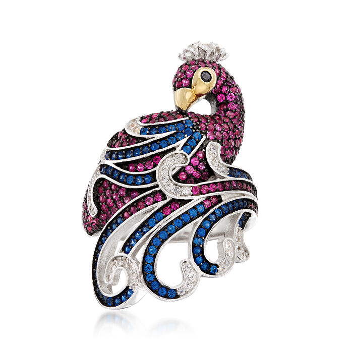 Simulated Gemstone and .30 ct. t.w. CZ Peacock Ring in Sterling Silver
