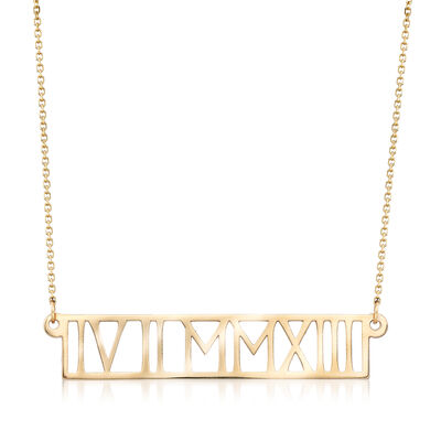 14kt Yellow Gold Horizontal Roman Numeral Necklace, , default