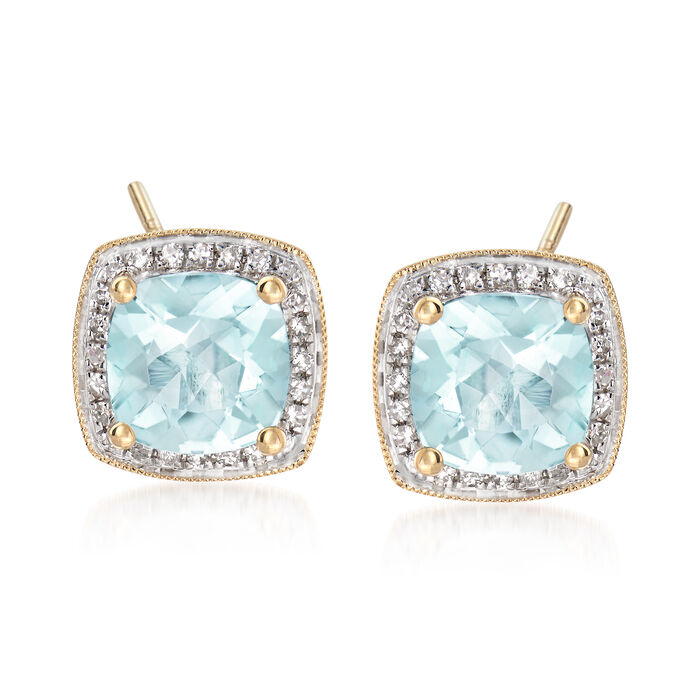 2.60 ct. t.w. Aquamarine and .24 ct. t.w. Diamond Stud Earrings in 14kt Yellow Gold, , default