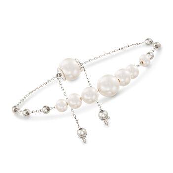 4-9.5mm Cultured Pearl Bolo Bracelet in Sterling Silver , , default