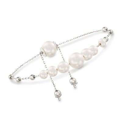 4-9.5mm Cultured Pearl Bolo Bracelet in Sterling Silver, , default