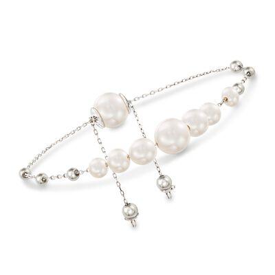 4-9.5mm Cultured Pearl Bolo Bracelet in Sterling Silver, , default