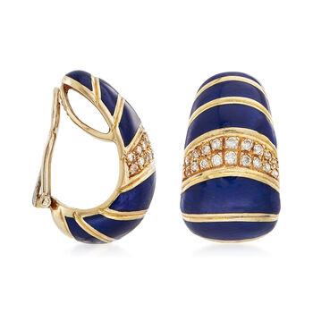 C. 1990 Vintage Blue Enamel and .60 ct. t.w. Diamond Earrings in 18kt Yellow Gold, , default