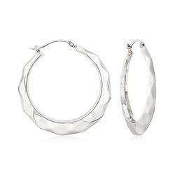 Sterling Silver Graduated Geometric Hoop Earrings, , default