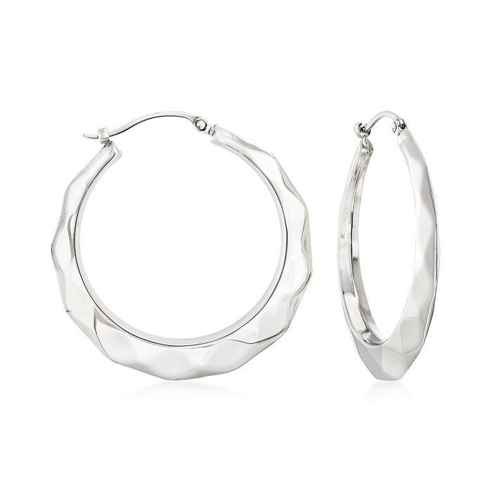"""Sterling Silver Graduated Geometric Hoop Earrings. 1 1/4"""", , default"""