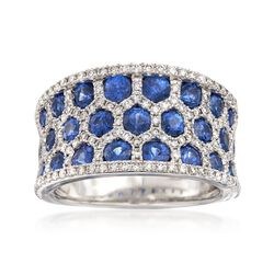 2.30 ct. t.w. Sapphire and .75 ct. t.w. Diamond Ring in 14kt White Gold, , default