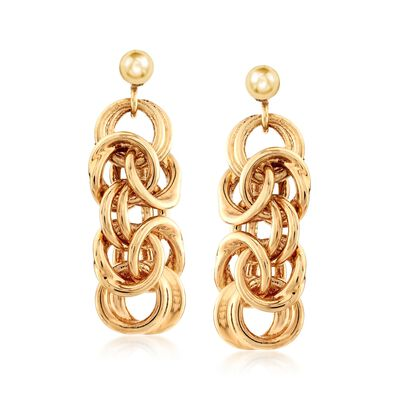 Italian Andiamo 14kt Yellow Gold Byzantine-Link Drop Earrings, , default
