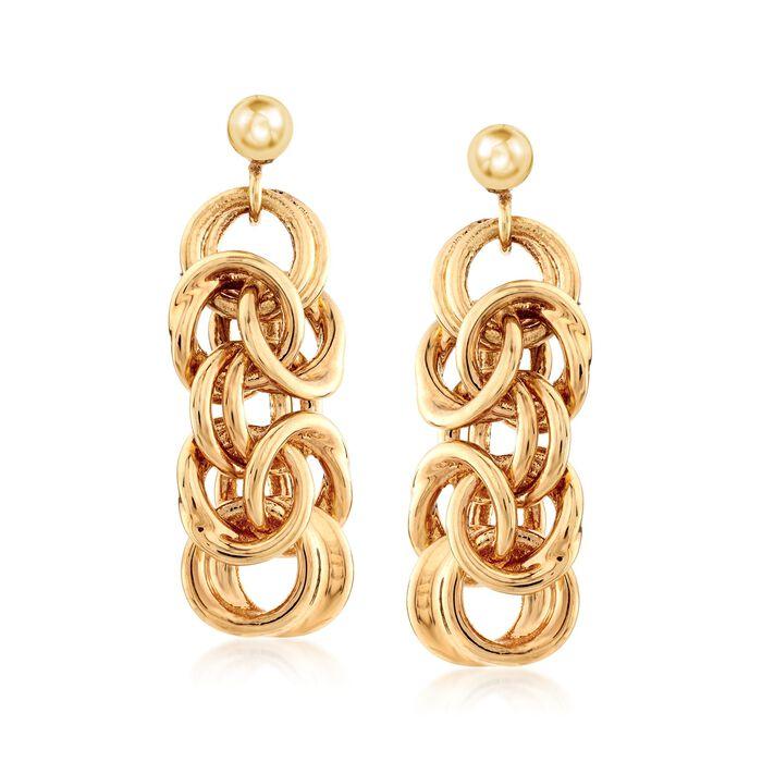 Italian Andiamo 14kt Yellow Gold Byzantine-Link Drop Earrings