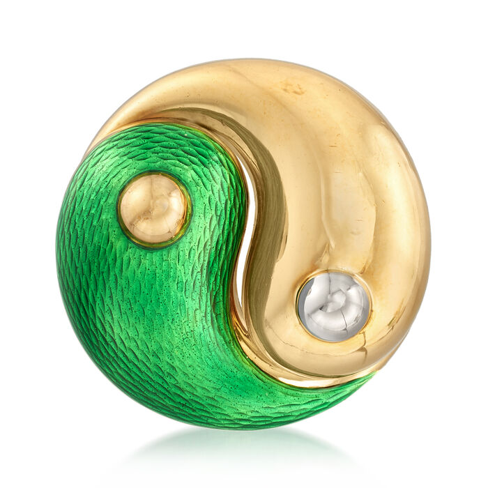 C. 1970 Vintage Green Enamel Yin/ Yang Pin in 18kt Yellow Gold