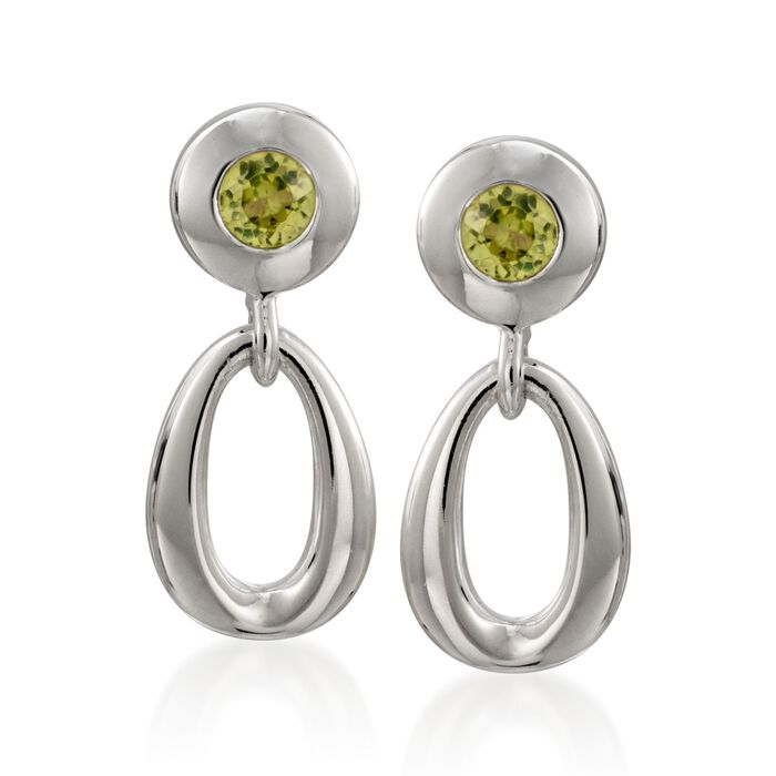 "Zina Sterling Silver ""Contemporary"" .50 ct. t.w. Peridot Open Oval Drop Earrings, , default"
