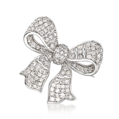 2.00 ct. t.w. Diamond Bow Pin in Sterling Silver, , default
