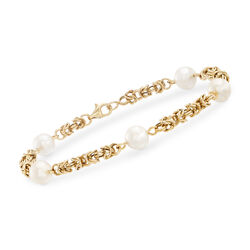 Cultured Pearl Byzantine Bracelet in 14kt Yellow Gold, , default