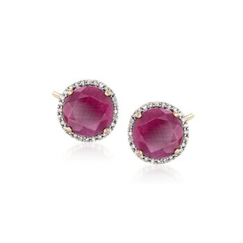 7.25 ct. t.w. Opaque Ruby and .22 ct. t.w. Diamond Earrings in 14kt Yellow Gold , , default