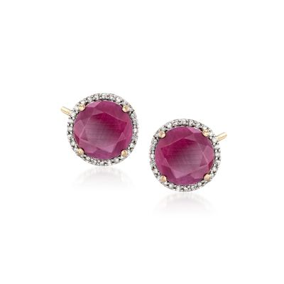 7.25 ct. t.w. Opaque Ruby and .22 ct. t.w. Diamond Earrings in 14kt Yellow Gold, , default