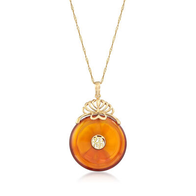 "22mm Amber Chinese ""Fortune"" Symbol Pendant in 14kt Yellow Gold, , default"