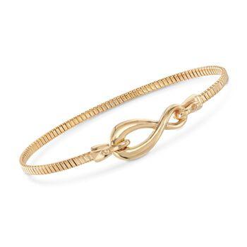 Italian 18kt Gold Over Sterling Infinity Symbol Bangle Bracelet, , default