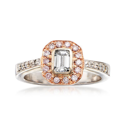 C. 1990 Vintage .75 ct. t.w. Pink and White Diamond Ring in 18kt Two-Tone Gold, , default