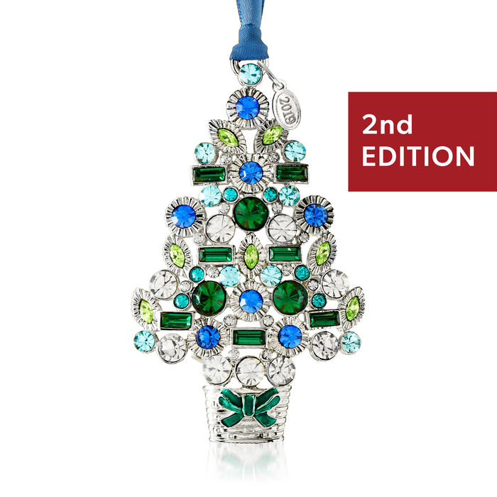 Ross-Simons 2019 Annual Multicolored Crystal Christmas Tree Ornament in Silverplate - 2nd Edition, , default