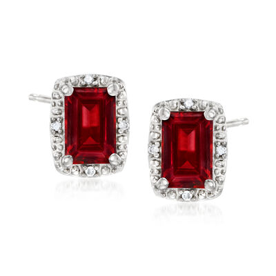 1.40 ct. t.w. Garnet Stud Earrings with Diamond Accents in Sterling Silver