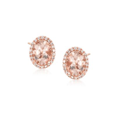 2.20 ct. t.w. Morganite and .20 ct. t.w. Diamond Stud Earrings in 14kt Rose Gold Over Sterling Silver, , default
